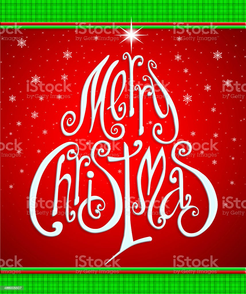 Merry Christmas Greeting Card, lettering like Christmastree. royalty-free stock vector art
