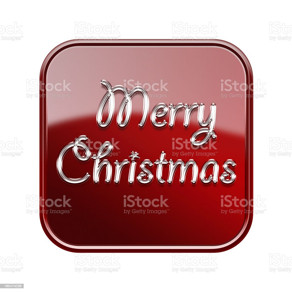 Merry Christmas icon glossy red, isolated on white background royalty-free stock vector art