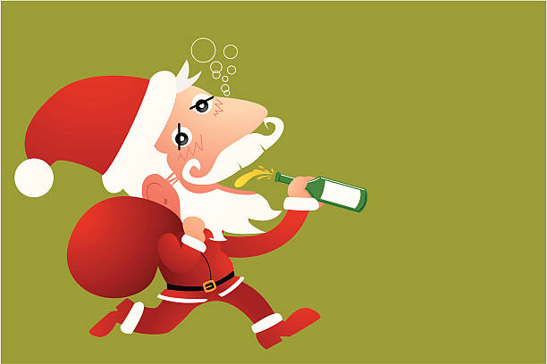 Santa Claus Drinking Beer Cartoons Clip Art, Vector Images ...