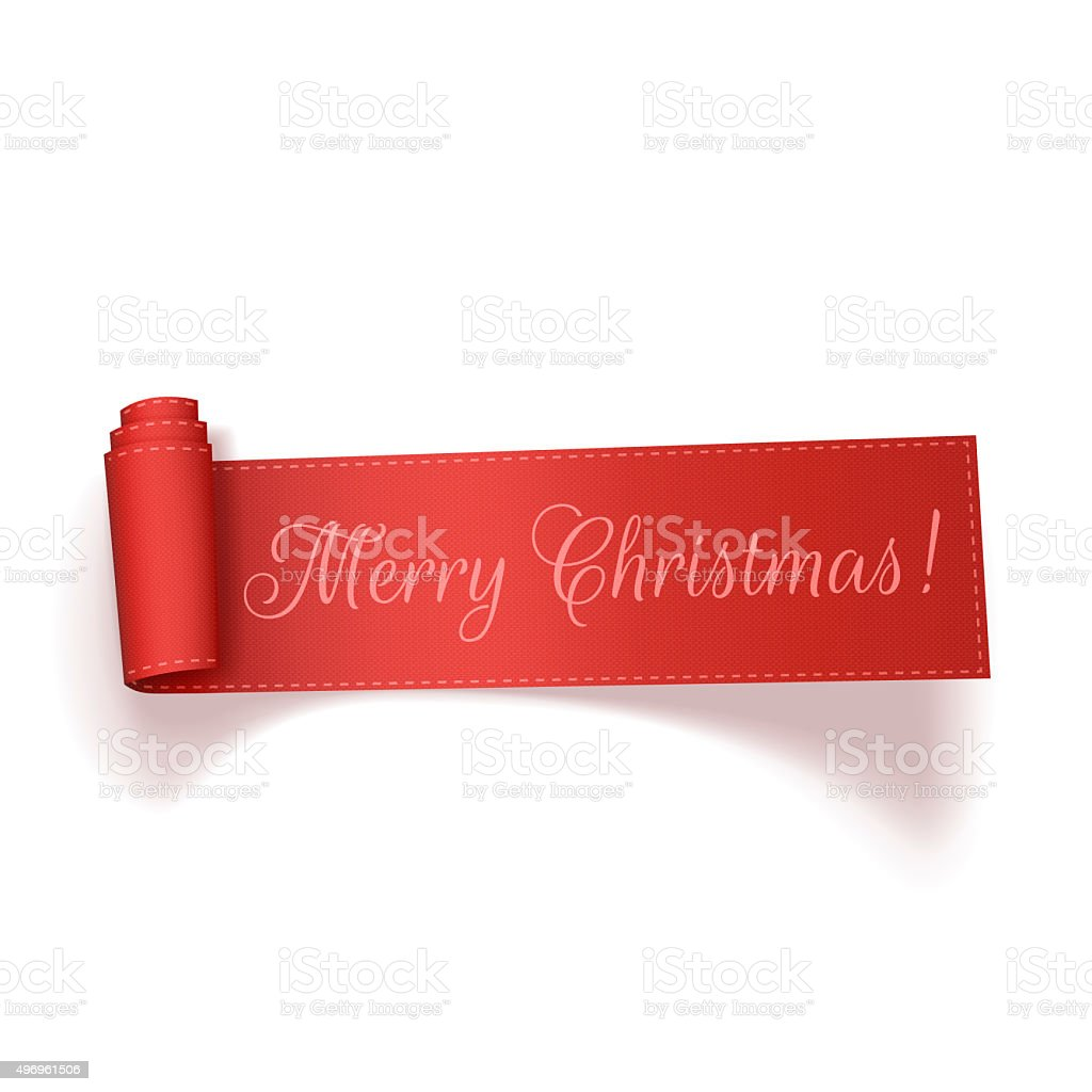 Merry Christmas red realistic curved Ribbon vector art illustration