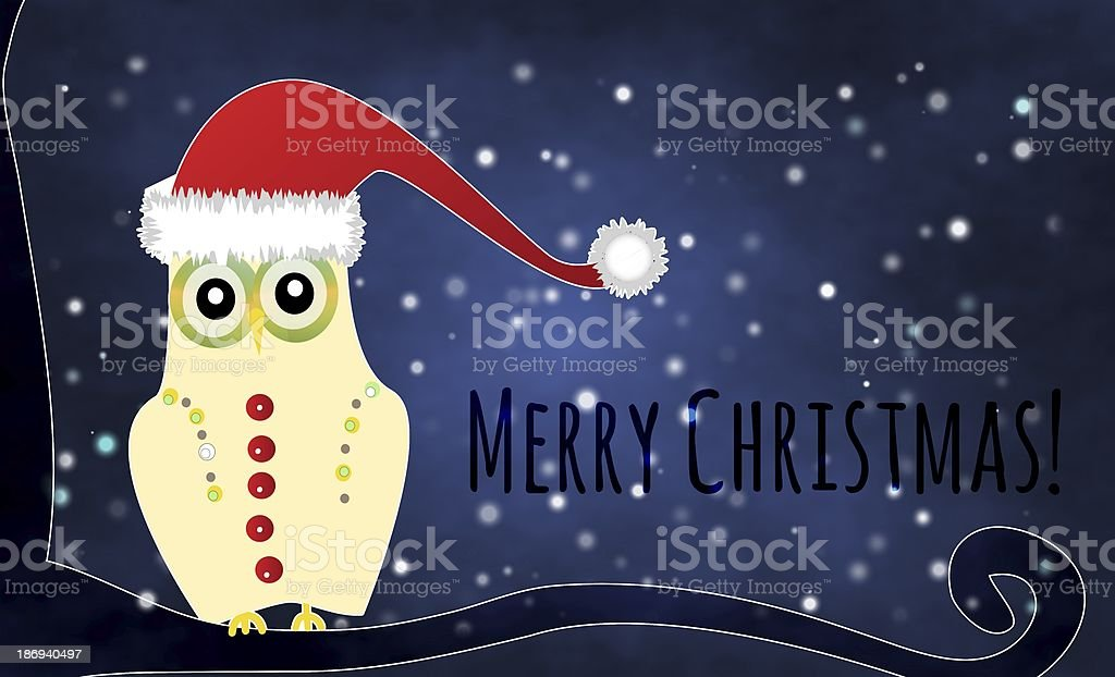 Merry Christmas with the cute little owl royalty-free stock vector art