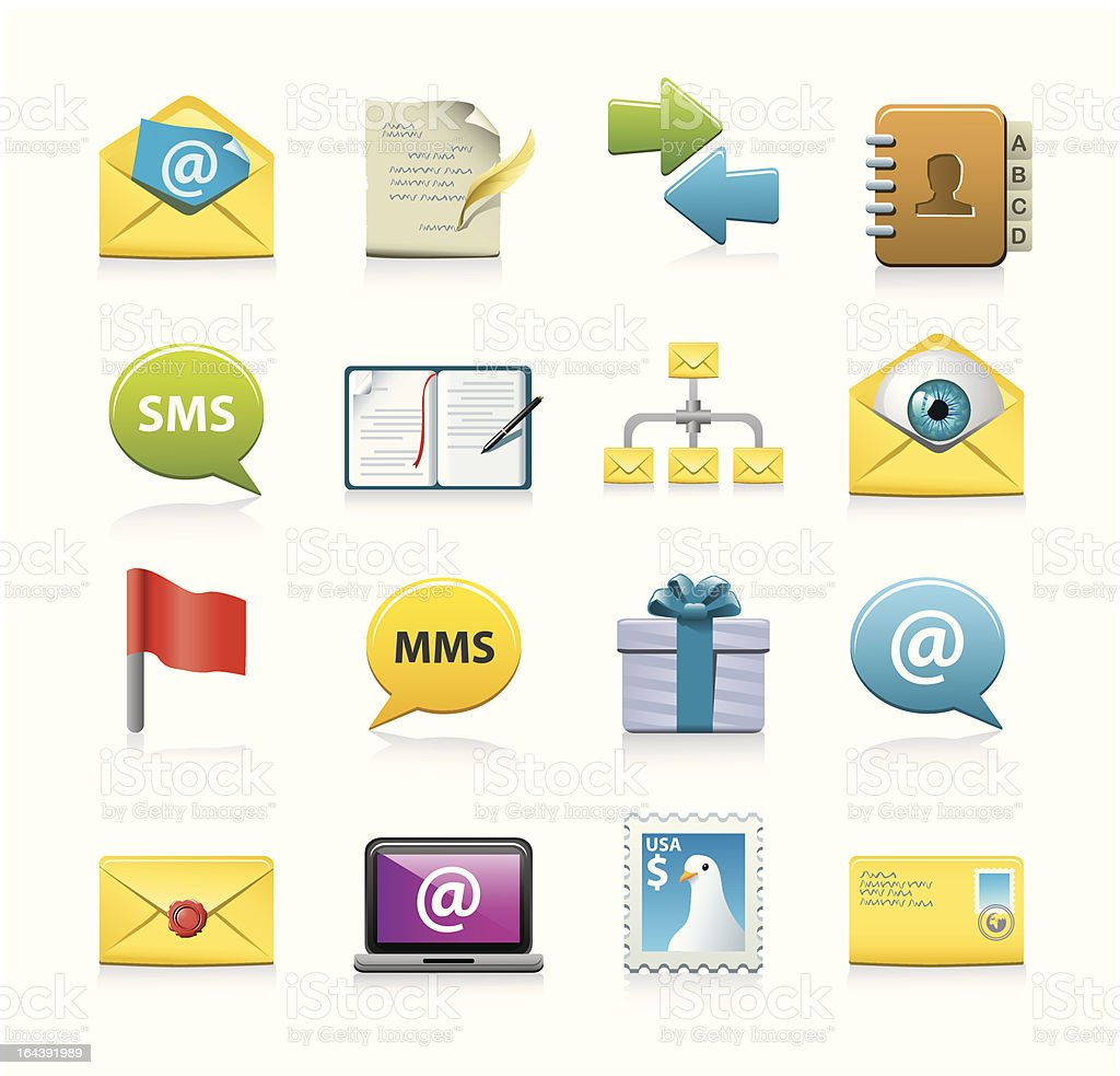 message icon set vector art illustration