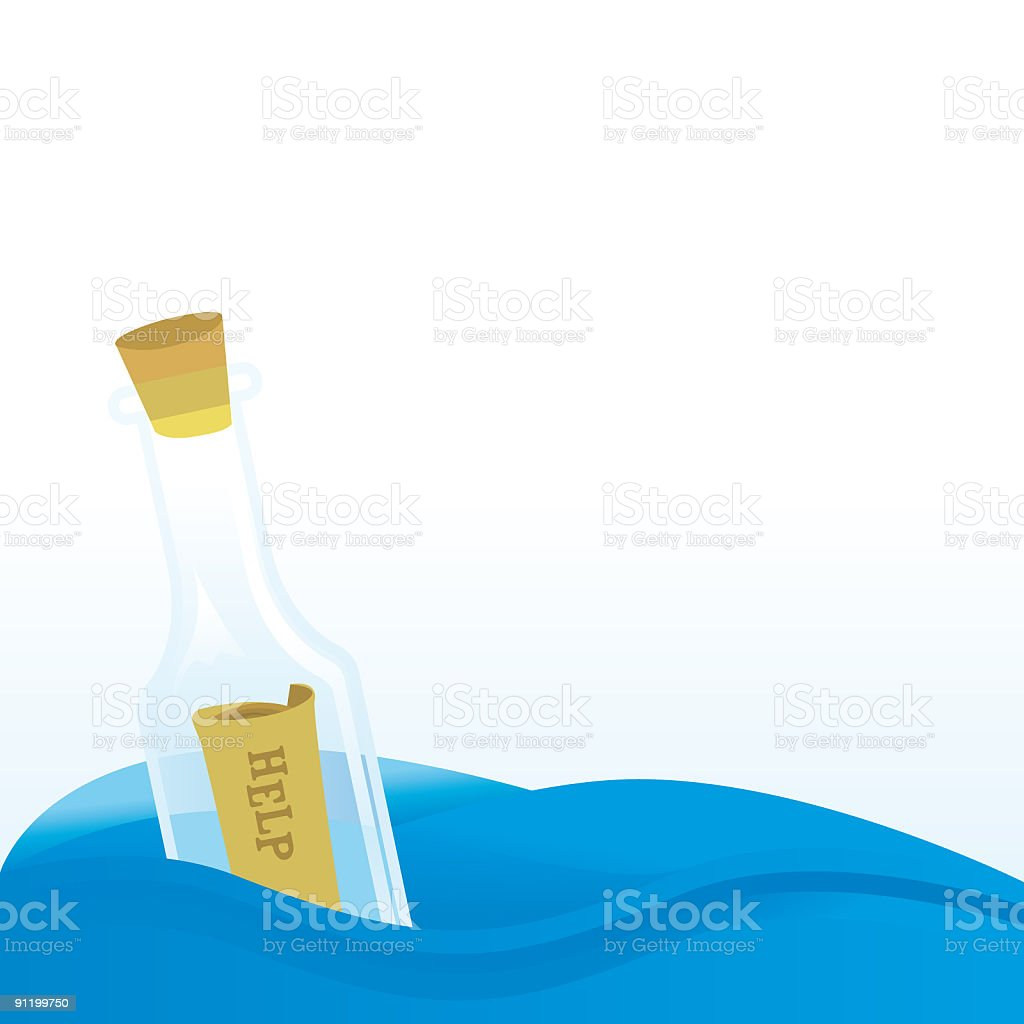 Message in a bottle royalty-free stock vector art