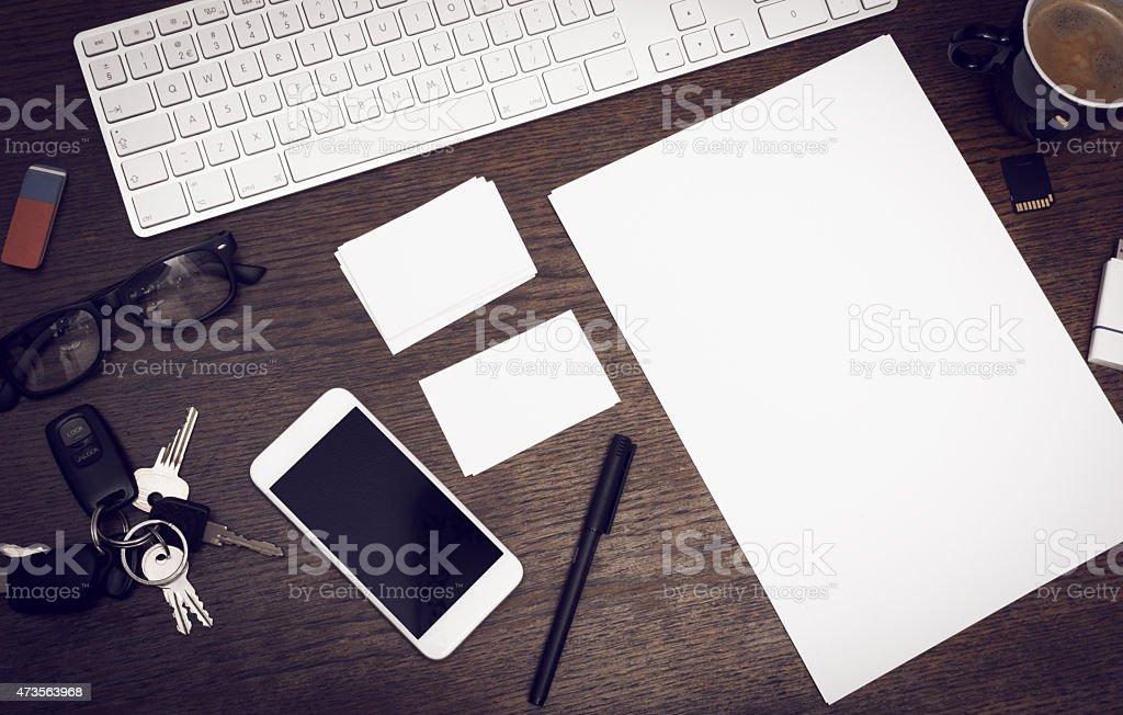 Messy desk mockup vector art illustration