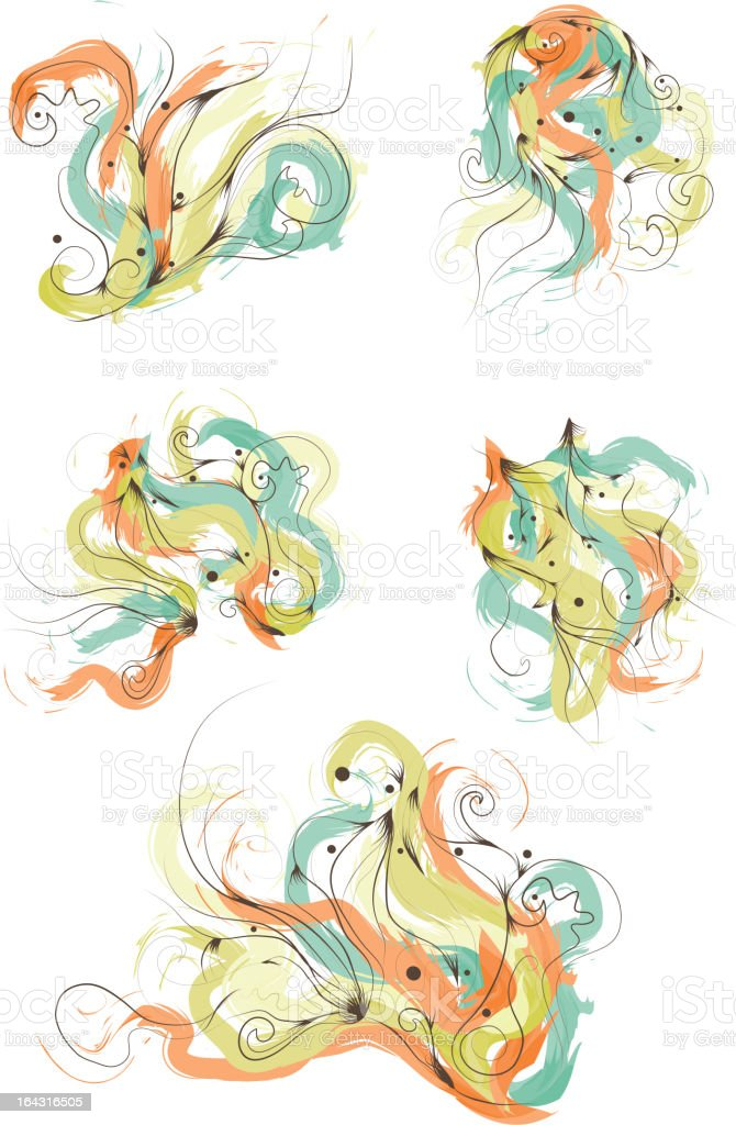 Messy Hand Drawn Painted Design Elements royalty-free stock vector art