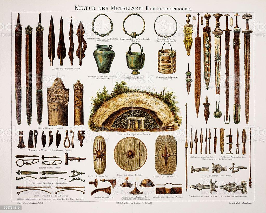 Metal bronze weapons 1895 vector art illustration
