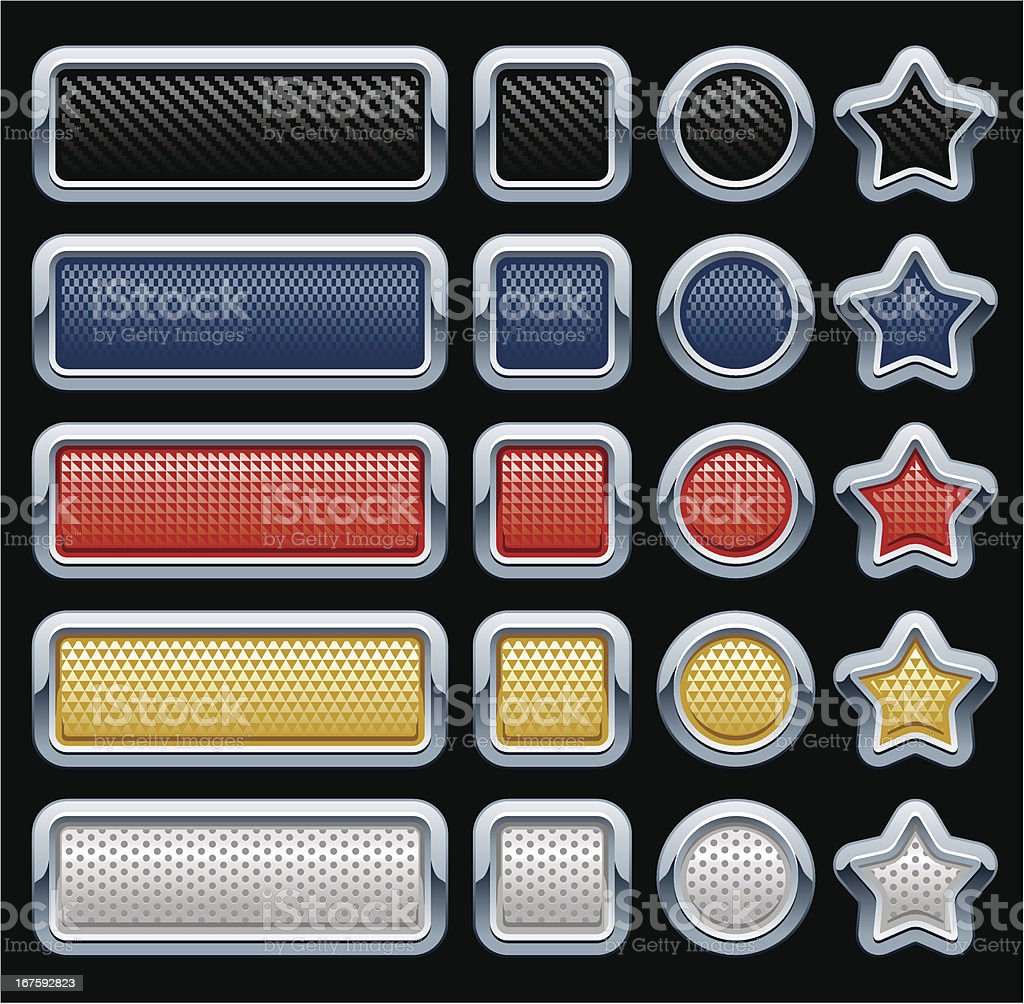Metal frame textured buttons royalty-free stock vector art