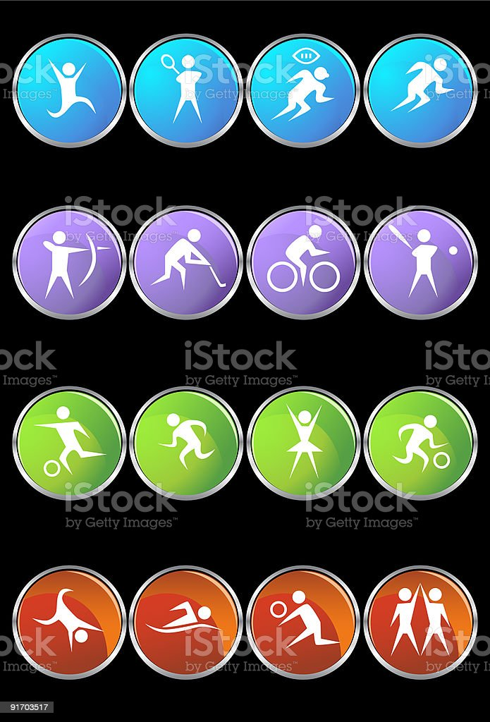 Metal Framed Athletic Buttons royalty-free stock vector art