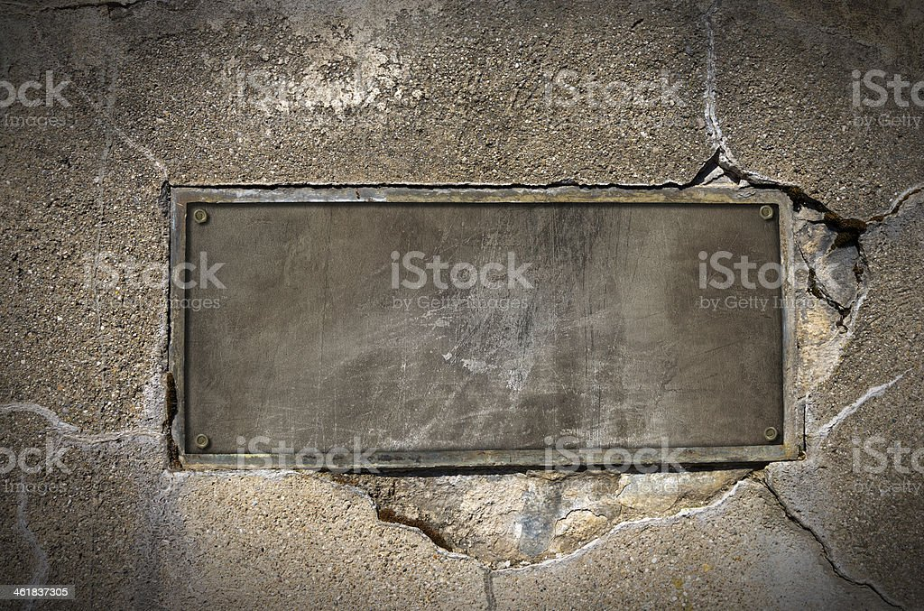 Metal Plate on Concrete Wall vector art illustration
