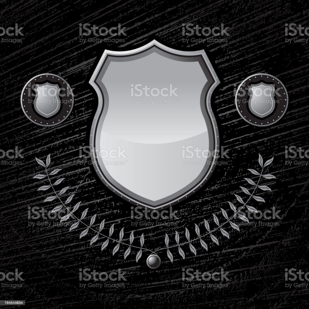 Metal Shield on layered wood texture background vector art illustration
