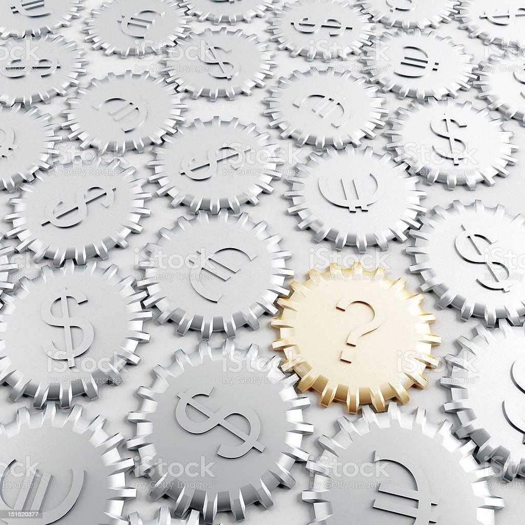 metallic gears with financial symbols royalty-free stock vector art