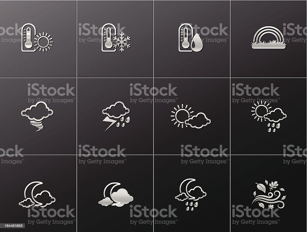 Metallic Icons - More Weather royalty-free stock vector art