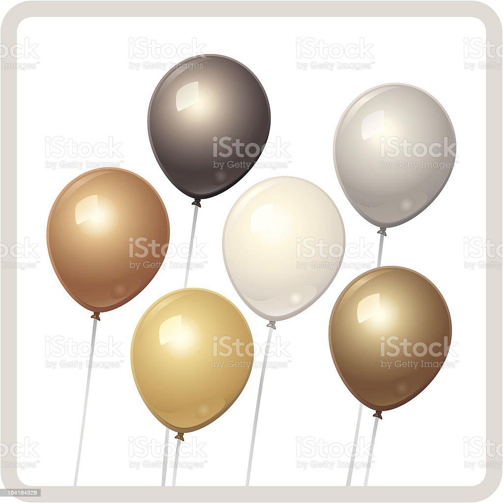 Metallic Neutral Balloons royalty-free stock vector art