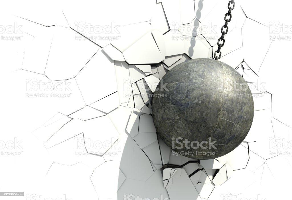 Metallic Wrecking Ball Shattering The White Wall vector art illustration