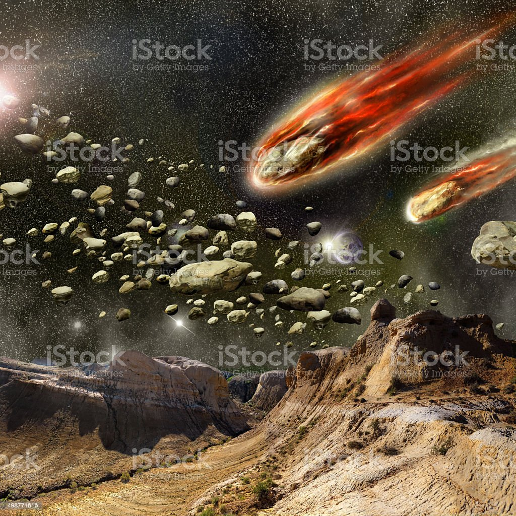 Meteorites in the atmosphere of the planet vector art illustration