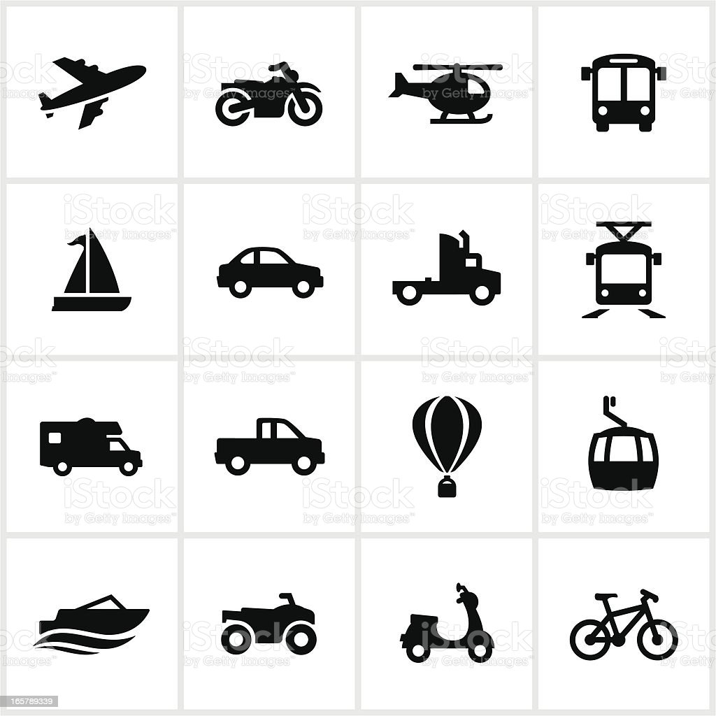 Black Methods of Transportation Icons vector art illustration