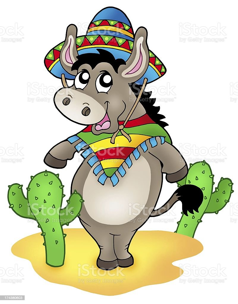 Mexican donkey with cactuses royalty-free stock vector art