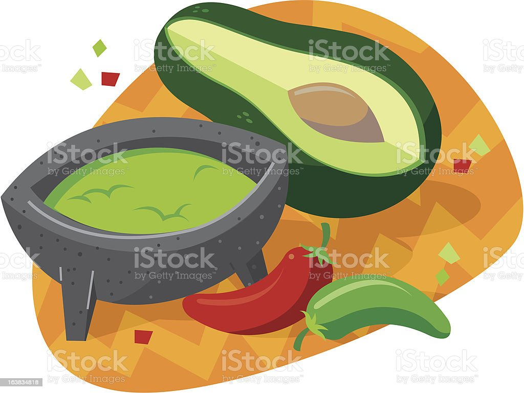 Mexican guacamole with palta and chiles royalty-free stock vector art