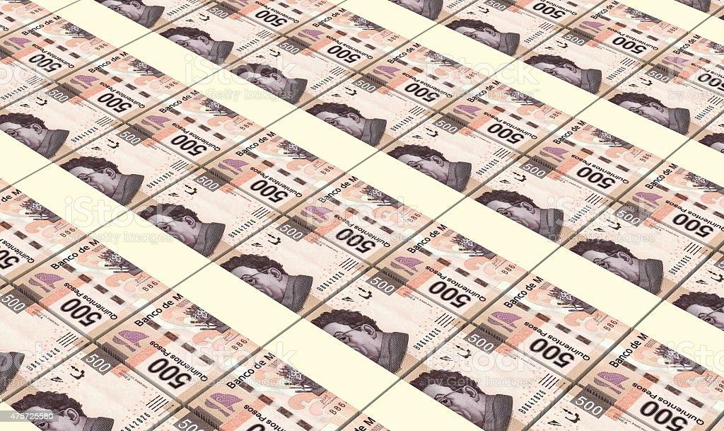 Mexican pesos bills stacks background. vector art illustration