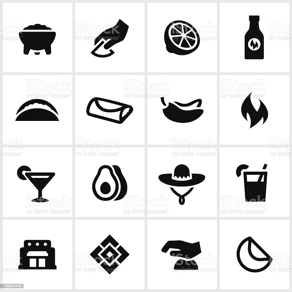 Mexican Restaurant Icons vector art illustration