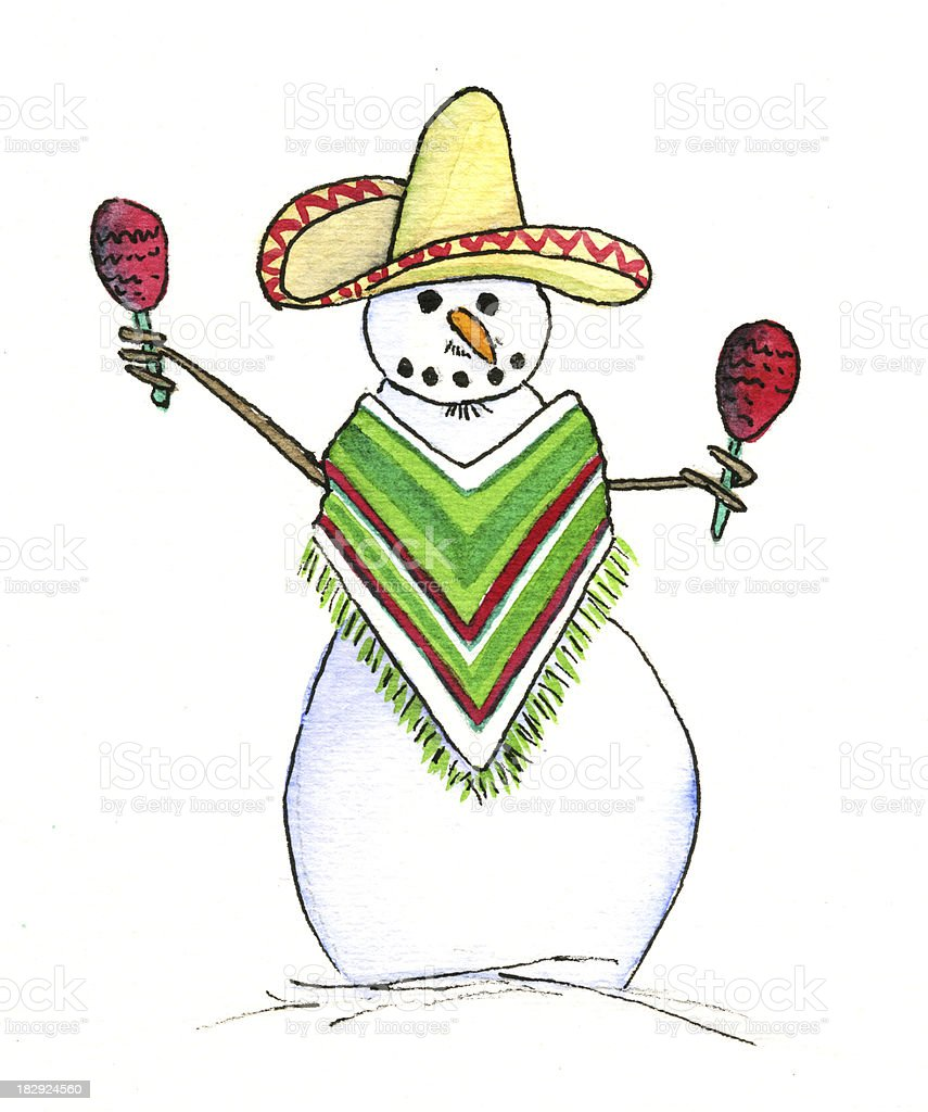 Mexican Snowman royalty-free stock vector art