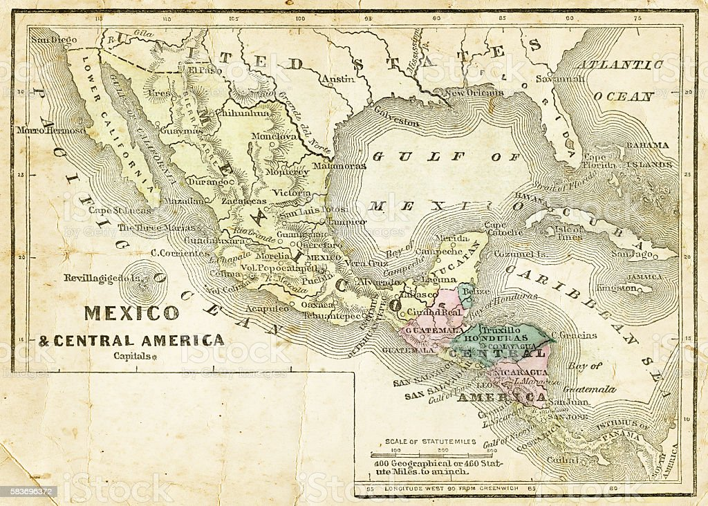Mexico and Central America map 1856 vector art illustration