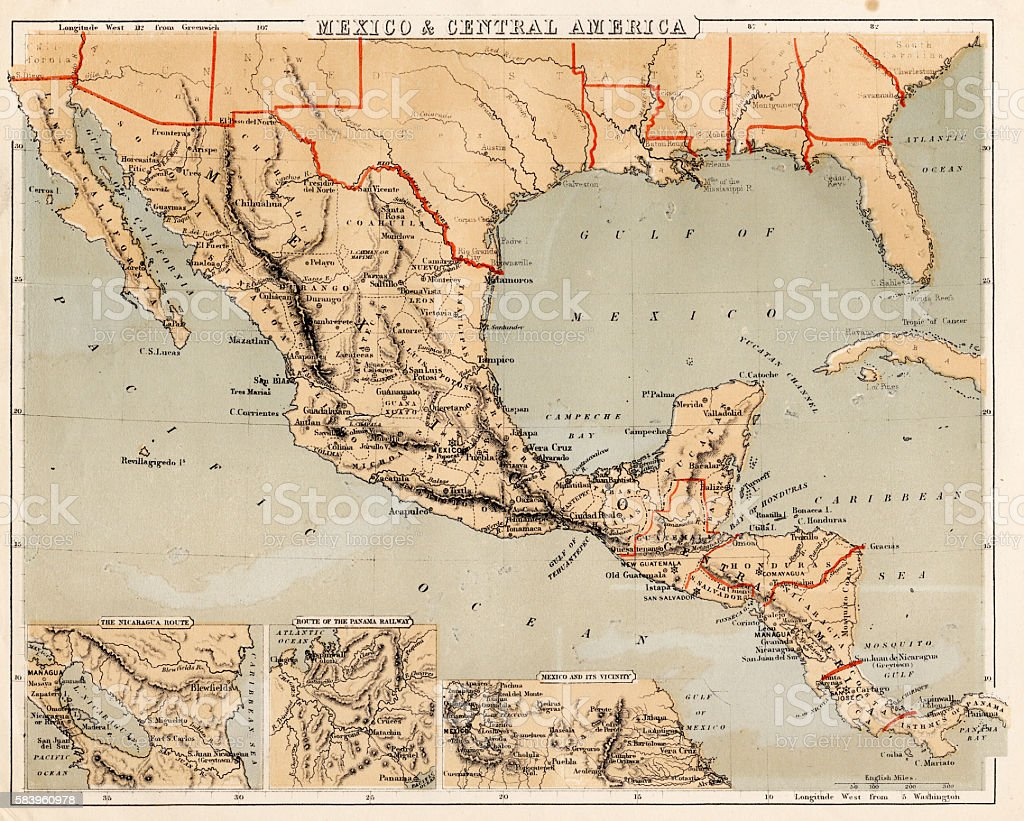 Mexico And Central America Map Stock Vector Art - Us map 1869