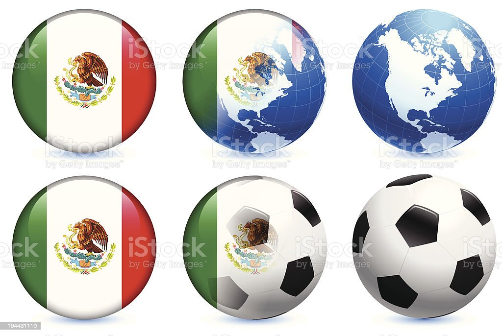 Mexico Flag with Soccer ball and Globe royalty-free stock vector art