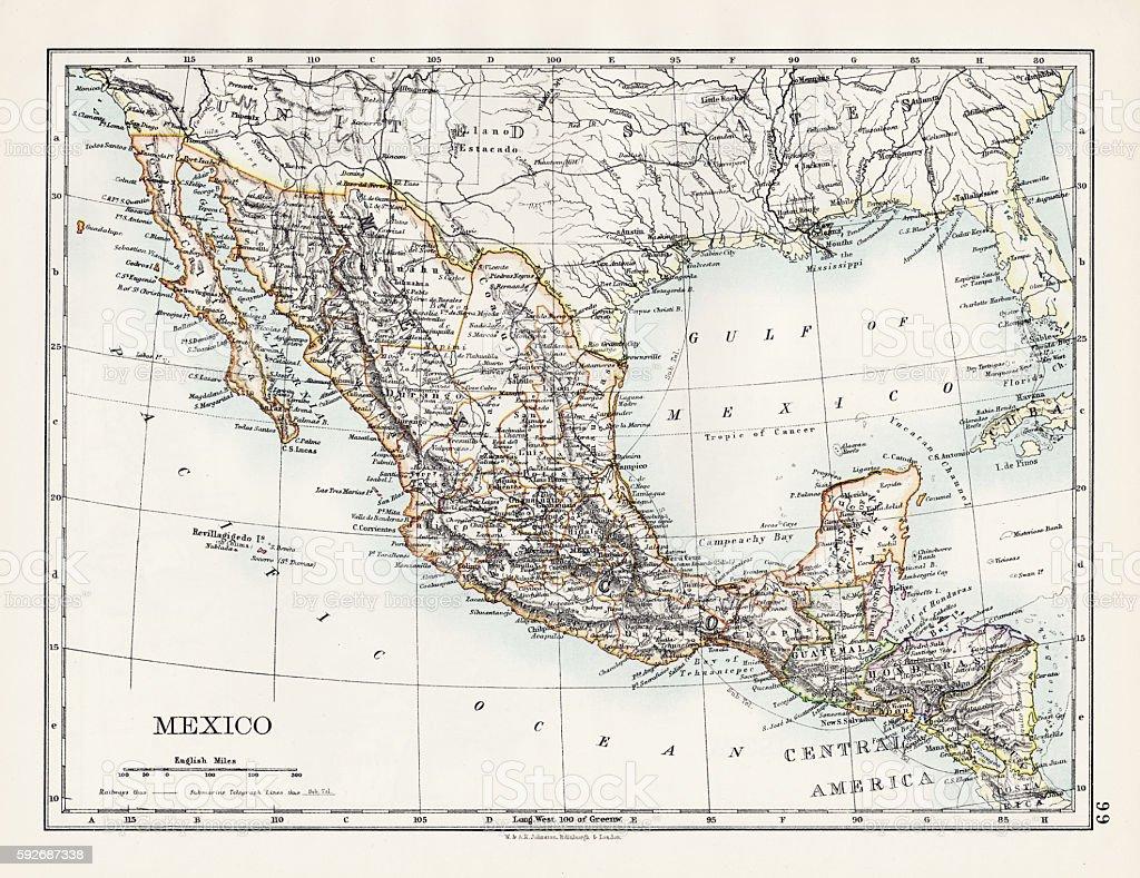 Mexico map 1897 vector art illustration