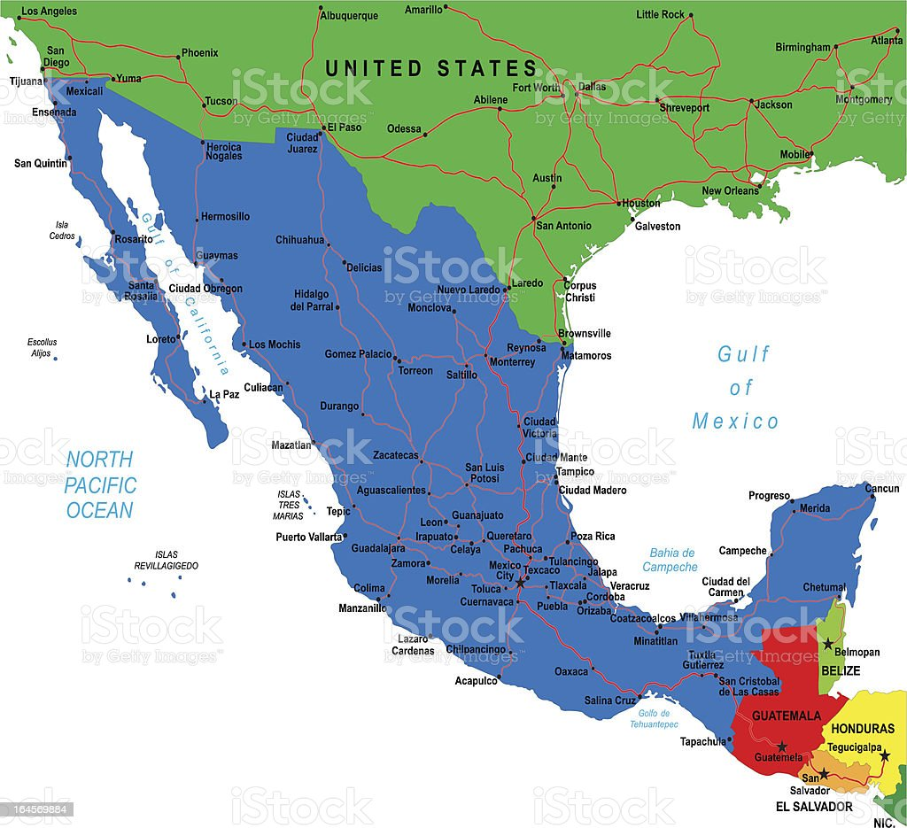 Mexico map vector art illustration