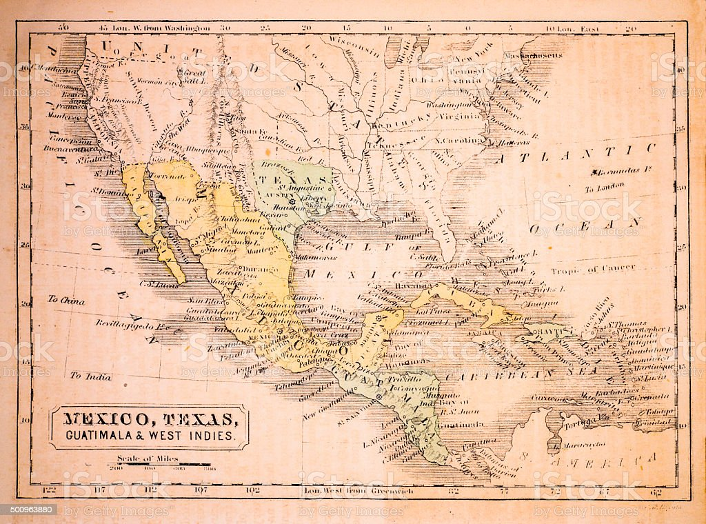 Mexico, Texas, Guatimala and West Indies 1852 Map vector art illustration
