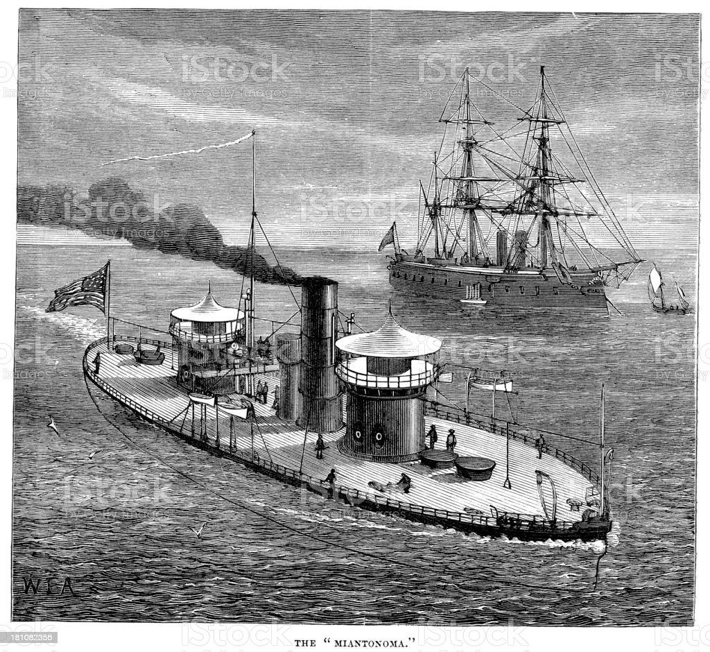 USS Miantonomoh royalty-free stock vector art
