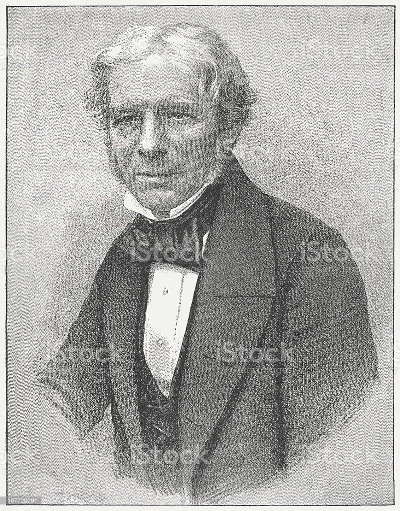 Michael Faraday (1791-1867), English scientist, engraving, published in 1882 vector art illustration