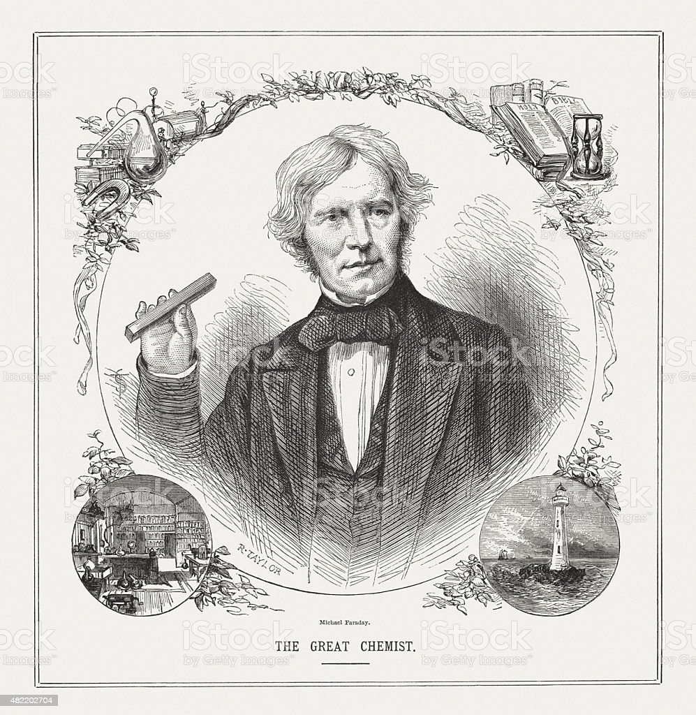 Michael Faraday (1791 - 1867), English scientist, published in 1873 vector art illustration