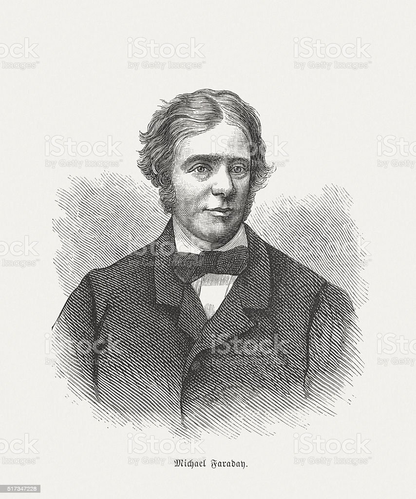 Michael Faraday (1791 - 1867), wood engraving, published in 1873 vector art illustration