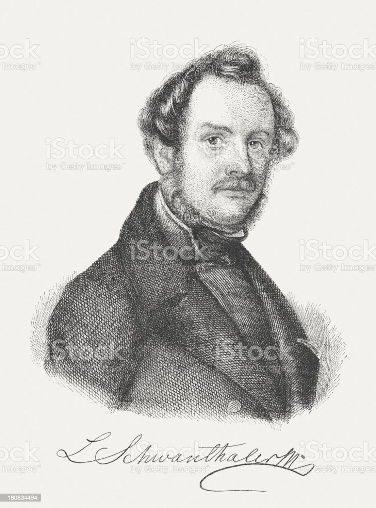 Michael Ludwig von Schwanthaler (1802-1848), Bavarian sculptor, published in 1882 royalty-free stock vector art