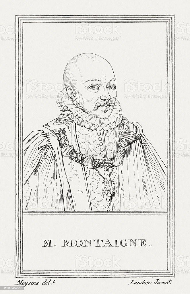 Michel de Montaigne (1533-1592), French philosopher, copper engraving, published 1805 vector art illustration