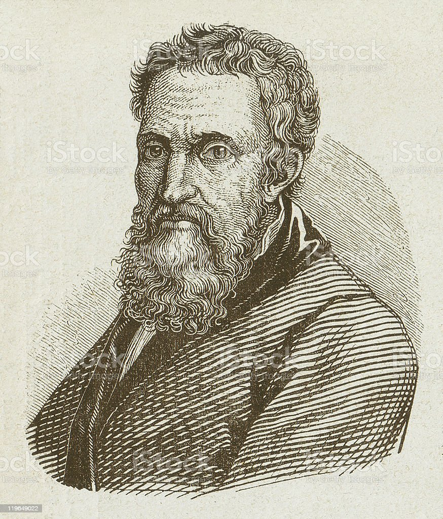 Michelangelo Buonarroti (1475-1564), wood engraving, published in 1877 vector art illustration