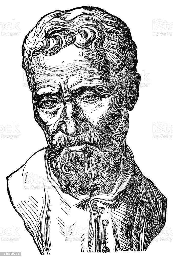Michelangelo - Italian Artist vector art illustration