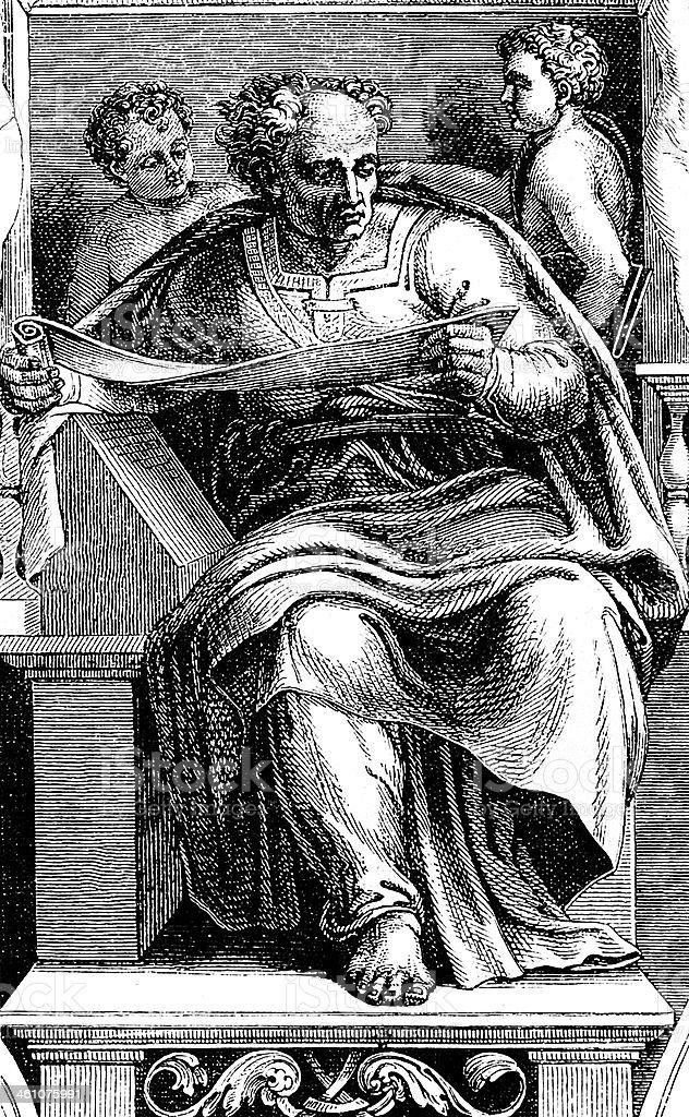 Michelangelo's Prophet Gioele vector art illustration
