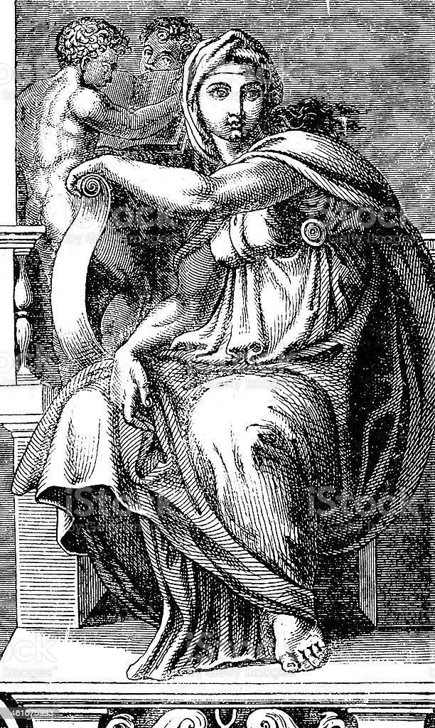 Michelangelo's Sibilla Delfica royalty-free stock vector art