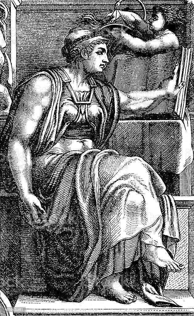Michelangelo's Sibilla Eritrea royalty-free stock vector art