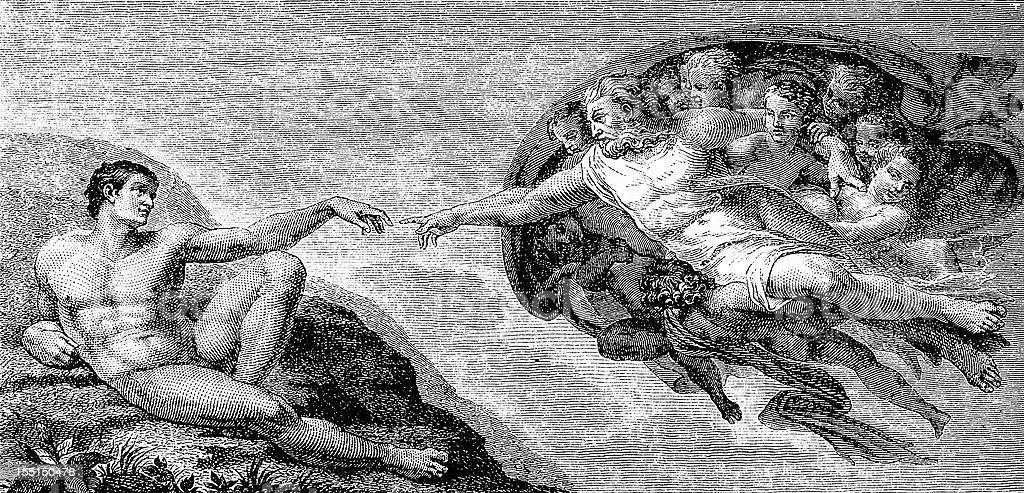 Michelangelo's The Creation of Adam (Illustration copy) vector art illustration