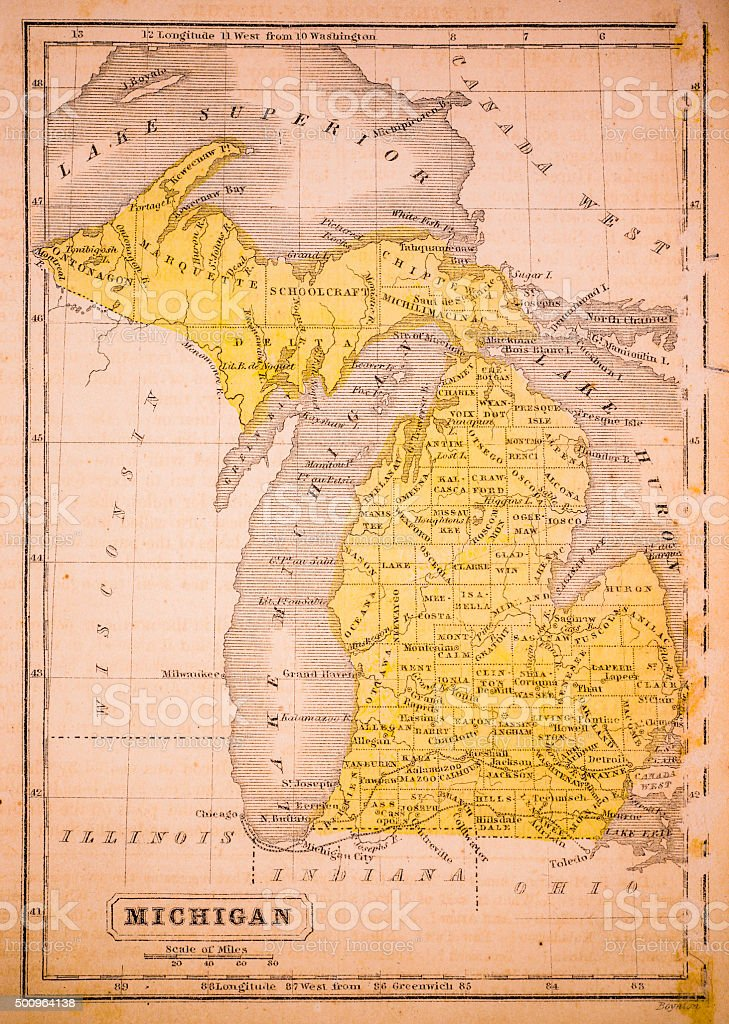 Michigan 1852 Map vector art illustration
