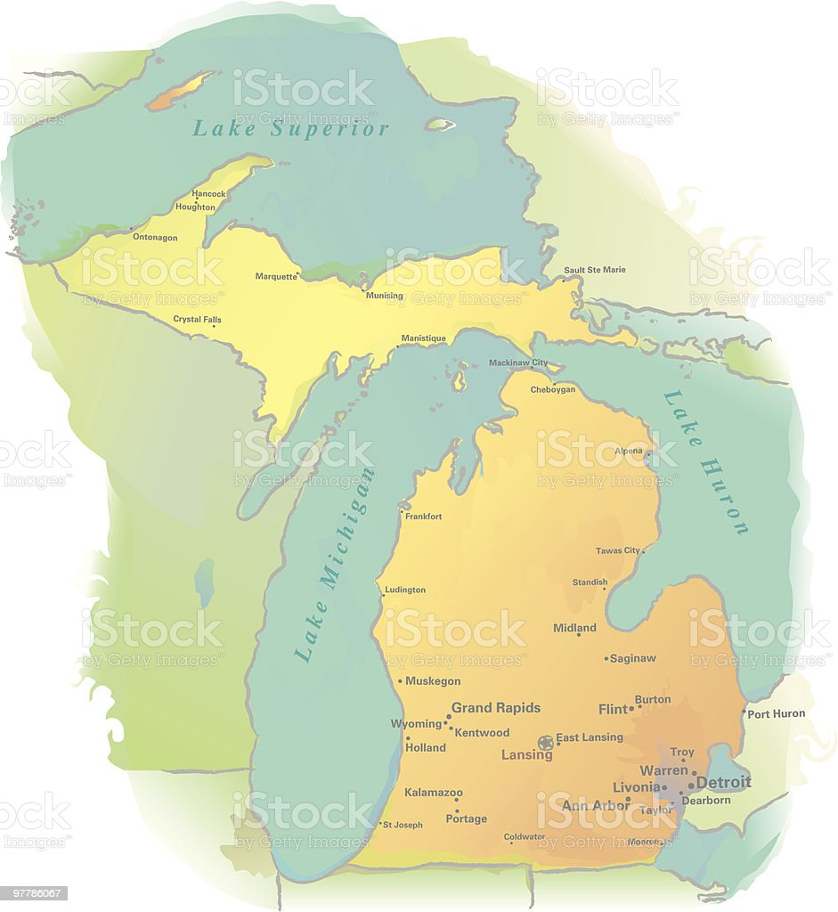 Michigan map - Watercolor style vector art illustration