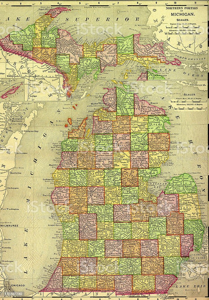 Michigan Old Map vector art illustration