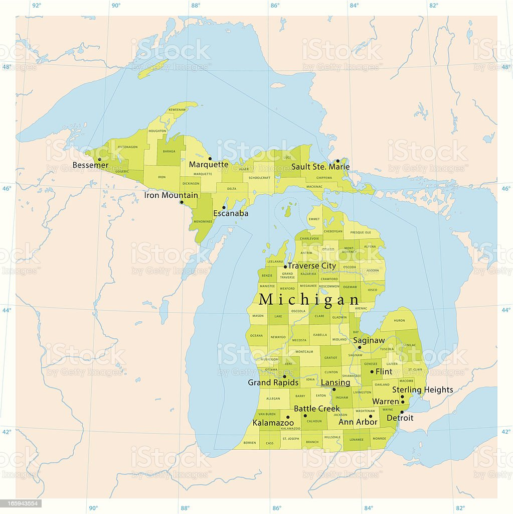 Michigan Vector Map vector art illustration