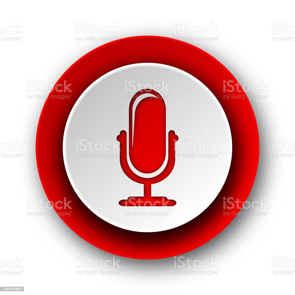 microphone red modern web icon on white background stock photo
