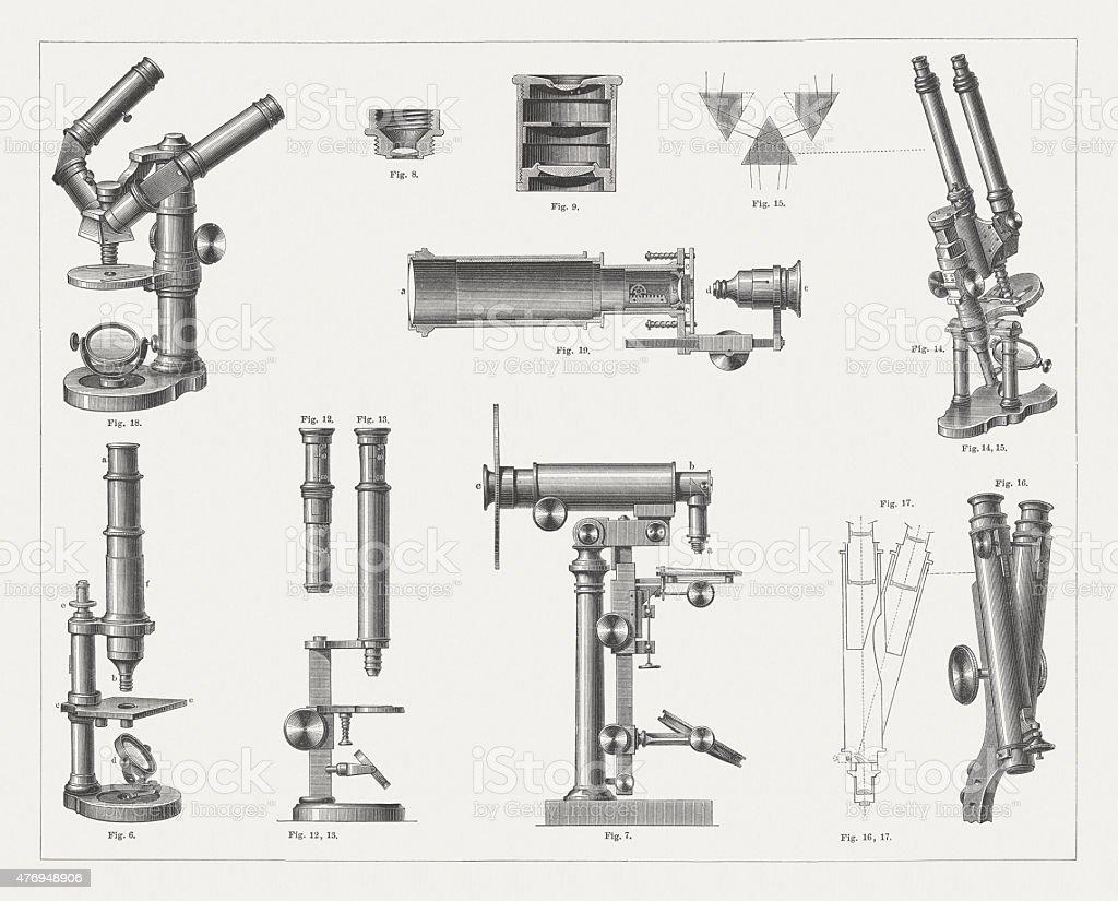 Microscopes, published 1877 vector art illustration