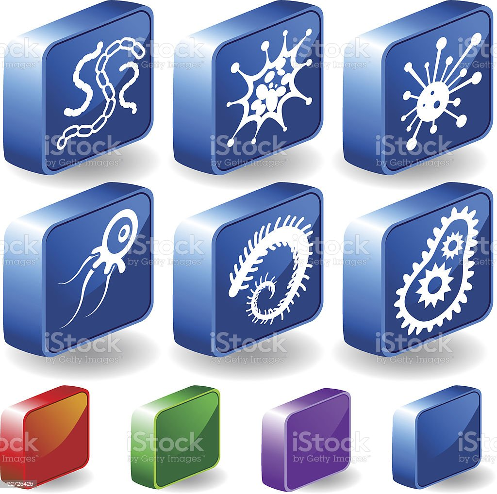 Microscopic 3D Icons royalty-free stock vector art